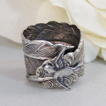 Sparrow's Feather,Ring,Silver,Bird,Sparrow,Antique Ring,Silver Ring,Bird Ring,Woodland,Wedding,Bridesmaid. jewelery by valleygirldesigns.