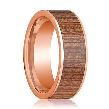 Mens Wedding Band Polished Flat 14k Rose Gold Wedding Ring with Sapele Wood Inlay - 8mm