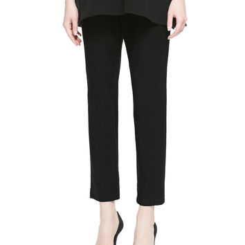 Washable Stretch-Crepe Ankle Pants, Petite, Size: PS (6/8), BLACK - Eileen Fisher