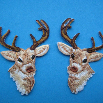 Iron-on embroidered Patch a Pair of Deer 2.25 inch