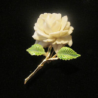 PELL White Carved Lucite Rose Brooch Signed Gold Plate Enamel Vintage Jewelry Gift For Her