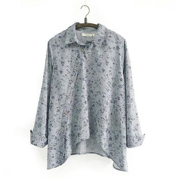 Spring New Women Shirt Cotton Linen Button White Blue Floral Turn-down Collar Irregular Plus Size Loose Blouse