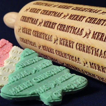 Embossing Rolling Pin - Merry Christmas