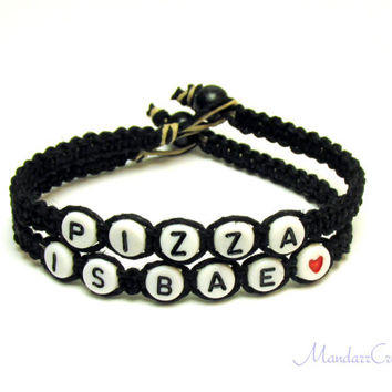 Jewelry for Pizza Lovers, Pizza is BAE, Black Macrame Hemp Bracelets, Set of Two