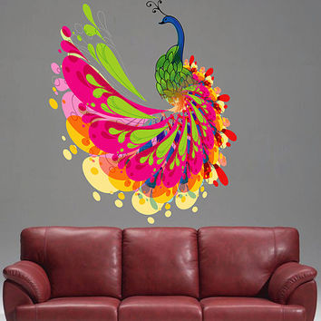 Kcik346 Full Color Wall Decal Peacock Bird Bright Colors Bedroom