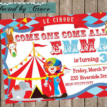 Circus Birthday Invitation with Circus Tent Clown and Monkey Order Digital or Physical Copies with Envelopes