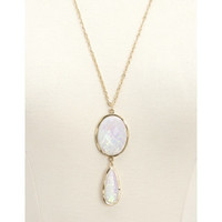 STATEMENT OPAL DUO PENDANT NECKLACE