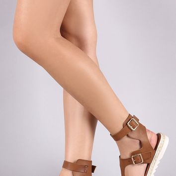 Vegan Leather T-Strap Buckle Ankle Strap Flat Gladiator Sandal