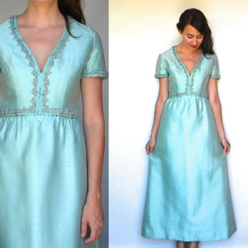 Vintage Evening Gown 1960s Blue SILK Beaded Formal Dress, Small