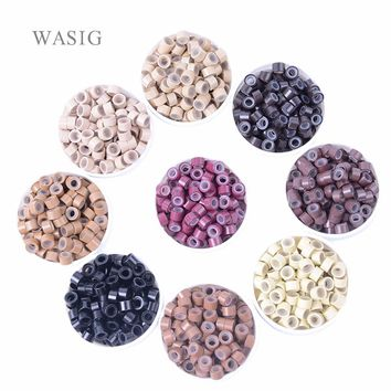 1000 pcs/pack silicon lined Micro Links Rings Beads Hair Feather Extensions 5# Brown . 9 Colors Optional