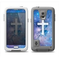 The Vector White Cross v2 over Purple Nebula Samsung Galaxy S5 LifeProof Fre Case Skin Set