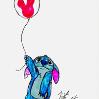 Stitch doesn't want to leave Disney World Art Print by Trinity Bennett