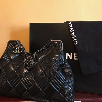 100% AUTHENTIC CHANEL BLACK LEATHER BAG, VERY FANCY