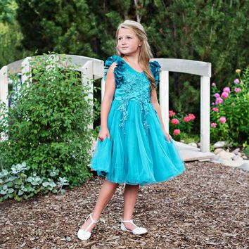 Ariana Turquoise Blue Petal Sleeve Satin & Lace Dress
