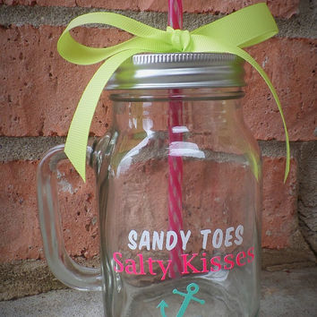 Sandy Toes Salty Kisses Mason Jar Mug, Beach Mug, Gift For Her, Mason Jar Tumbler