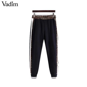 Vadim women chic leopard harem pants animal pattern patchwork pockets elastic waist female casual trousers pantalones KA376