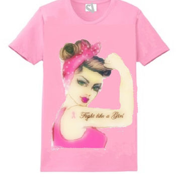 Rosie Fight like a Girl Pink Breast Cancer Awareness T - Shirt