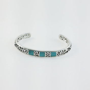 Sterling Turquoise Cuff Bracelet - Sterling Filigree Bracelet - Turquoise Inlay Cuff Bracelet - Silver Turquoise Bracelet