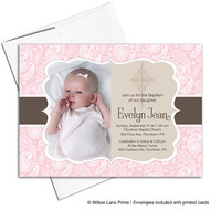 Custom Baby girls baptism invitations with photo | pink and brown girl invitations - WLP00201