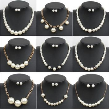 Classic Imitation Pearl necklace Gold-color jewelry set for women