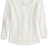 AEO Women's Cropped Open Stitch Sweater