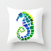 Seahorse Love Throw Pillow by Catherine Holcombe