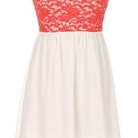 The Strapless Lace Coral Dress - 29 N Under
