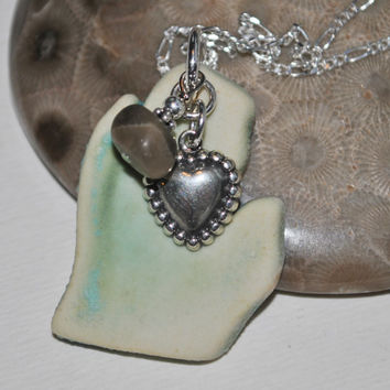Ceramic Michigan pendant with Petoskey Stone nugget and sterling heart charm,  , Michigan necklace, Up North