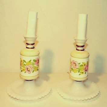 Two Vintage Underwriters' Laboratories Inc. Portable Lamps White Milk glass Base with Floral Handle Little Girl's Room Retro Sweet Floral