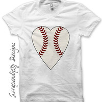 Iron on Baseball Heart Shirt PDF - Baseball Iron on Transfer / Toddler Sports Tshirt / Baby Girls One Piece / Cute Sports Clothes IT269-C