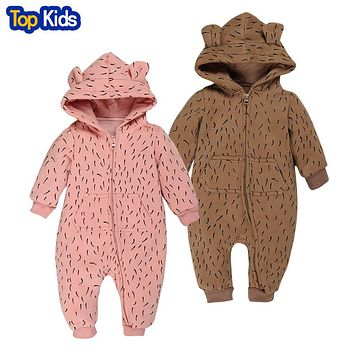 Fleece Sliders Autumn Winter with Long Sleeve With Hood Overall Jumpsuit Leopard Baby Jumpsuits Slippers Kids