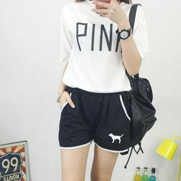 Korean style pink ladies leisure summer girl han edition section letter fashion harajuku clothing home  outfit  Letter clothing