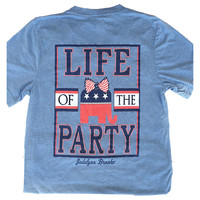 Life of the Party V-Neck Tee Shirt in Blue by Jadelynn Brooke