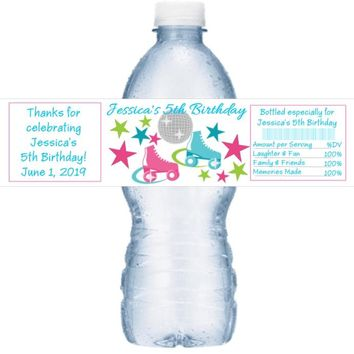 21 Roller Skating Birthday Party Water Labels