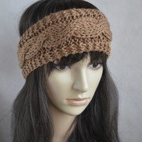 Brown Headband, Light Brown Hair Accessories, Hand Knit Cable Ear Warmer, Soft and Warm Headband, Wool and Acrylic Blend