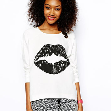 Black Print White Round-neck Long Sleeve Pullover Tops Hoodies [6407732612]