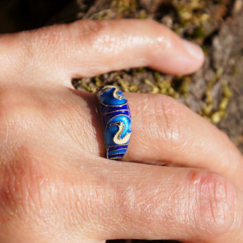 Chinese Export Enamel Cloisonne Ring with Swans