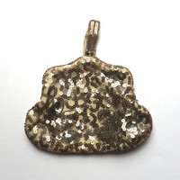 1930's Sequin Purse - Vintage Evening Bag - Champagne And Bronze Sequins And Glass Beads - Bridal - Collector