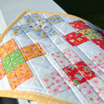 Quilted Granny Square Mama Block Mini Quilt Table Mat Table Runner Table Topper