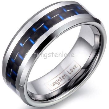 8mm Mens Tungsten Carbide Rings Wedding Band With Blue & Black Carbon Fiber Inlay Engagement Ring For Men Jewelry Gift For Boys