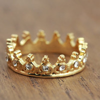 delicate crown ring, gold plated, princess jewelry, bohemian