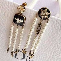 DIOR Fashionable Women Chic Pearl Tassel Earrings Accessories Jewelry
