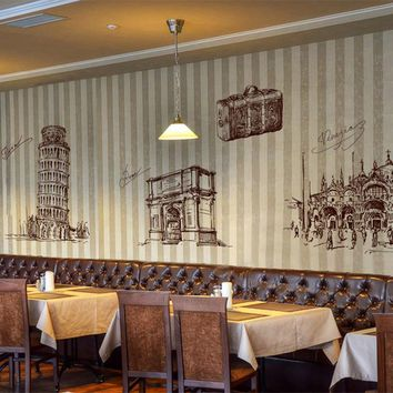 ik2422 Wall Decal Sticker Italy Rome attractions Leaning Tower Venice Italian Restaurant