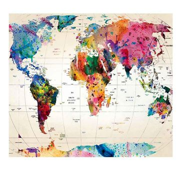 Wall Tapestries World Map Printed  Tapestry
