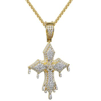 New Melting Dripping Religious Cross faith Designer Pendant