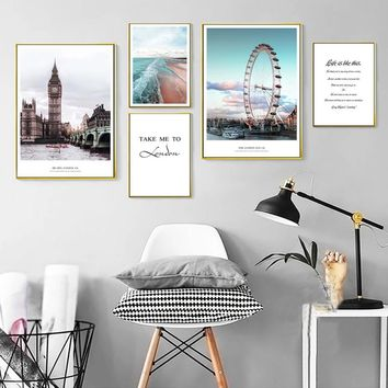 London City Landscape Canvas Paintings Modern Poster Print Typography Nordic Wall Art Pictures for Living Room Home Office Decor