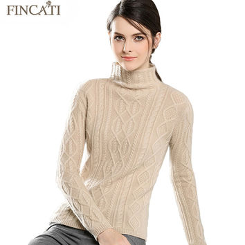 Women Pullover 2017 High Quality Cable Floral Knitted 100% Pure Cashmere Turtleneck Soft Skin Friendly Sweaters Pulls Femme