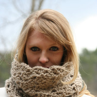 Chunky  Cowl Scarf - Neck Warmer -Taupe