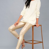 Metallic Gold Vegan Suede Leggings