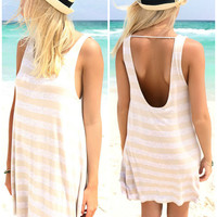 Cayo Coco Striped Sand Open Back Tank Dress